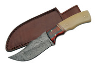 "BUFFALO 8"" DAMASCUS SKINNER WITH BONE HANDLE"