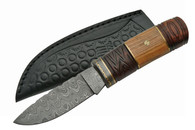 "9"" DAMASCUS MOSAIC KNIFE WITH WOOD HANDLE (DM-1082)"