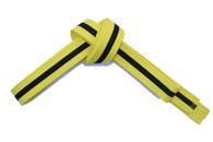 Yellow Karate Belt with Black Stripe