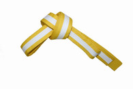 Yellow Karate Belt with White Stripe
