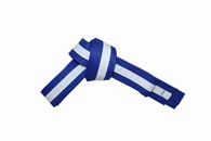 Blue Karate Belt with White Stripe