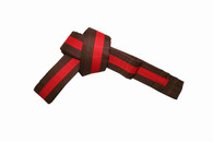Brown Karate Belt with Red Stripe