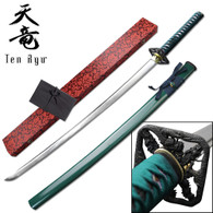 Ten Ryu HAND FORGED SAMURAI SWORD (Green Cord)