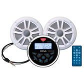 "Boss Audio MCKGB350W.6 Combo - Marine Gauge Radio w/Antenna  2 6.5"" Speakers - White"