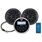 "Boss Audio MCKGB350B.6 Combo - Marine Gauge Radio w/Antenna  2 6.5"" Speakers - Black"