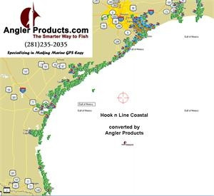 Angler Products Uploadable Fishing Hotspots for Upper Laguna TX HookNLine Map