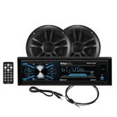 Boss Audio MCBK634B.6 Package w\/MR634UAB, 2-MR6B Speakers  MRANT10 Antenna - Black