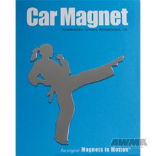 AWMA® Martial Arts Magnet - Female Kicker Silver