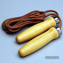AWMA® Hardwood Handle Jumprope - Leather Cord