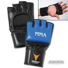 AWMA® ProForce® Thunder™ Leather MMA Gloves - Blue/Black