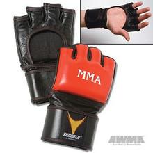 AWMA® ProForce® Thunder™ Leather MMA Gloves - Red/Black