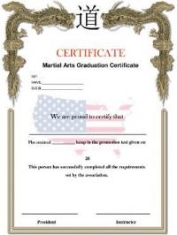 KWON® Martial Arts Graduation Certificate