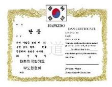 KWON® Hapkido Dan Certificate
