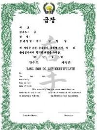 KWON® Tang Soo Do Gup Certificate