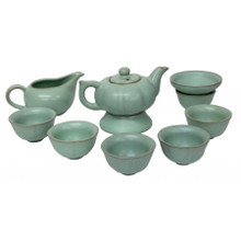 Chinese Green Pumpkin Tea Set with Jug and Strainer - Lined Gift Box