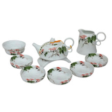 Chinese Hand Painted Bone China Tea Set - Morning Glory - Gift Boxed