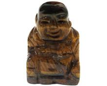 Gemstone Buddha - Tiger Eye - Hand Carved - Velvet Gift Pouch