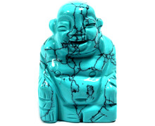 Gemstone Buddha - Turquoise - Hand Carved - Velvet Gift Pouch