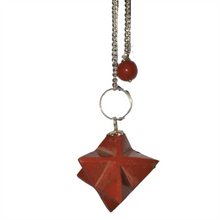 Gemstone Merkaba / Star Pendulum with Chain - Red Jasper - Effort