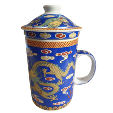 Porcelain Chinese Tea Mug with Infuser and Lid - Coloured Dragon Pattern