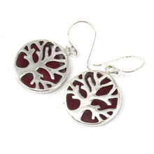 Tree of Life Silver Earrings 15mm - Coral Effect - Drop / Hook Fixing