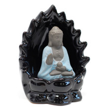 Ceramic Back Flow Incense Burner - Buddha & Lights - Smoke Cascade