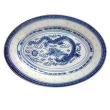Chinese Blue and White Oval Serving Plate - Rice Pattern - 30cm x 21.5cm