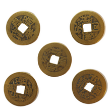 Chinese Lucky Coins - Set of 5 Coins - Old Brass -2.5cm - Feng Shui