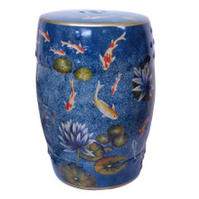 Chinese Ceramic Stool / Plant Stand - Koi Carp and Waterlilies Pattern