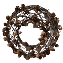 Natural Pine Cone and Twig Wreath - 37cm - Rustic Christmas Decoration