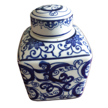 Tea Caddy / Storage Jar - Square - Chinese Blue Swirling Pattern - 14cm Tall
