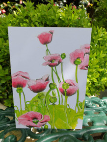 Pink Poppies Cards by Sarah Cameron - Blank Inside - Choice of Pack Sizes