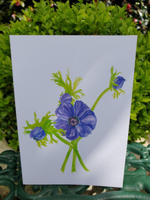 Mauve Anemone Card by Sarah Cameron - Blank Inside -Choice of Pack Sizes