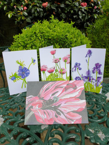 Flower Cards by Sarah Cameron - Blank Inside - Assorted Designs - 4 Cards