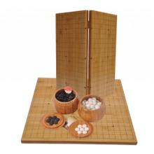 Go Set - Yunzi Weiqi Stones - Bamboo Bowls + Board - Folding Game Board