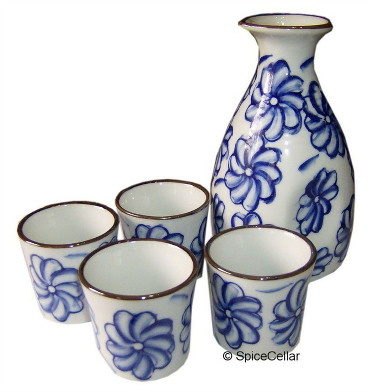 Sake Set Black with Floral Pattern Ceramic Flask and Cups Boxed