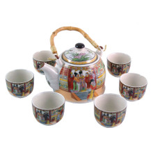 Chinese Tea Set - White Ceramic - Palace Ladies Pattern - Gift Box