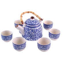 Chinese Tea Set  - Blue and White Leaf Pattern - Gift Box