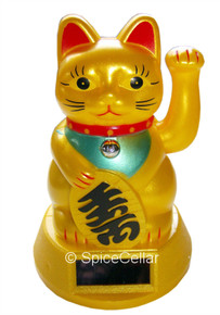 Lucky Waving Cat - Maneki-neko - 12cm Tall - Solar Powered - Feng Shui