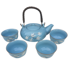Chinese Tea Set - Duck Egg Blue Ceramic - White Maple Pattern
