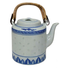 Chinese Teapot - Blue and White Rice Pattern - Cane Handles - 1250ml