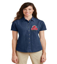 Lake Gem Ladies Short Sleeve Denim Button-up
