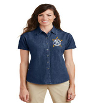 Millennia Ladies Short Sleeve Denim Button-up