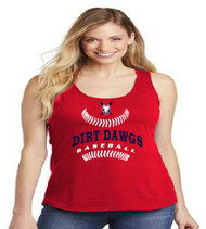 Dirt Dawgs Baseball Ladies Red Tank-Top