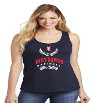 Dirt Dawgs Baseball Ladies Navy Blue Tank-Top