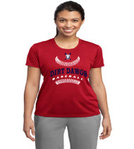 Dirt Dawgs Baseball Ladies Red Dri-Fit T-Shirt