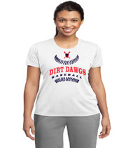 Dirt Dawgs Baseball Ladies White Dri-Fit T-Shirt