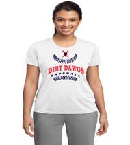 Dirt Dawgs Baseball Ladies White Dri-Fit T-Shirt
