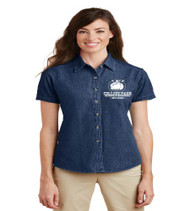 College Park Ladies Short Sleeve Denim Button-up