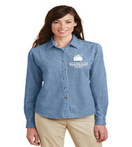 College Park Ladies Long Sleeve Denim Button-up